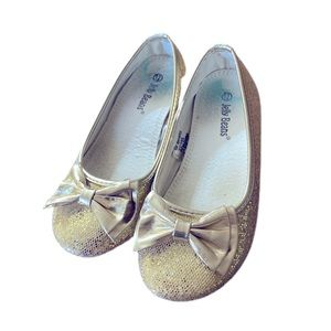 Girls sparkly flats with bows size 12